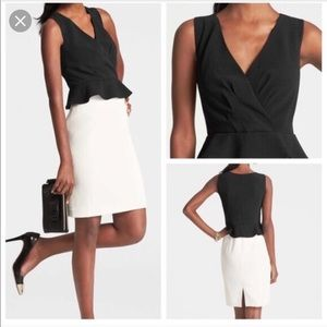 Black and White Peplum Dress by Ann Taylor